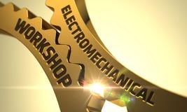 Oficina eletromecânica nas engrenagens douradas da roda denteada 3d Imagens de Stock