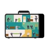 Oficina en caso de que lugar de trabajo móvil en maleta Encargados que trabajan o Foto de archivo libre de regalías