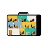 Oficina en caso de que lugar de trabajo móvil en maleta Trabajo de los encargados Fotos de archivo libres de regalías