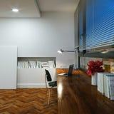 Oficina en el nuevo interior del hogar con el piso y la tabla de madera y Foto de archivo libre de regalías