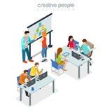 Oficina ind interior de la reunión de presentación de Coworking stock de ilustración