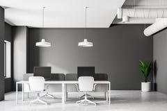 Oficina industrial gris interior, vista delantera del estilo stock de ilustración