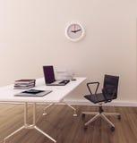 Oficina interior moderna mínima Imágenes de archivo libres de regalías
