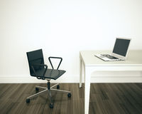 Oficina interior moderna mínima Imagen de archivo libre de regalías