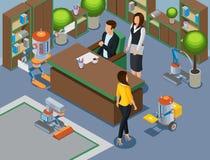 Oficina isométrica del concepto futuro stock de ilustración