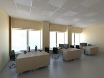Oficina moderna con los ordenadores interiores Imagen de archivo libre de regalías