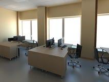 Oficina moderna con los ordenadores interiores Fotografía de archivo