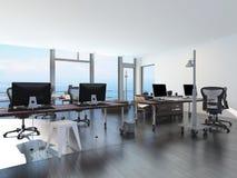 Oficina moderna de la costa que pasa por alto el mar Imagenes de archivo