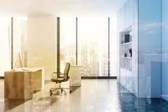 Oficina moderna del CEO del blanco, vista lateral entonada stock de ilustración
