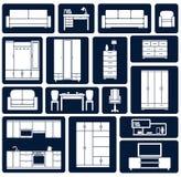 Oficina plana e iconos caseros de la silueta de los muebles Foto de archivo libre de regalías
