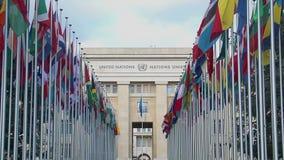 Oficina principal de la organización en Ginebra, cooperación internacional de Naciones Unidas almacen de metraje de vídeo