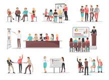 Oficina Team Building Concepts Illustrations Set Imagen de archivo