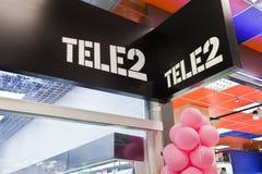 Oficina Tele2 en centro comercial Fotos de archivo libres de regalías
