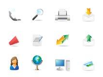 Oficina y conjunto del icono de la comunicación Ilustración del Vector