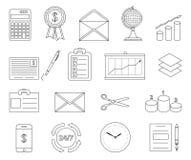 Oficina y línea de negocio iconos Fotos de archivo libres de regalías