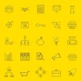 Oficina y línea fina iconos del negocio Imagenes de archivo