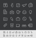 Oficina y línea serie del negro de //de los iconos del negocio Fotos de archivo