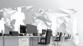 Oficina y siluetas del hombre