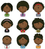 Oficinista Avatar femenino afroamericano Imagenes de archivo