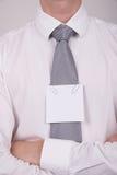Oficinista con la nota sobre lazo Foto de archivo libre de regalías