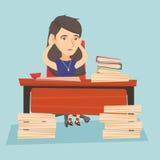 Oficinista de la desesperación que se sienta en el lugar de trabajo stock de ilustración