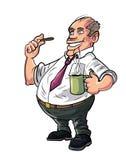 Oficinista de la historieta que tiene un descanso para tomar café Imágenes de archivo libres de regalías