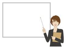 Oficinista de sexo femenino que sostiene un indicador ilustración del vector