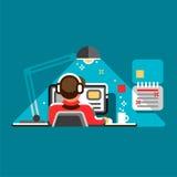 Oficinista en su escritorio Ejemplo plano del diseño del vector fresco con el hombre que trabaja en el equipo de escritorio stock de ilustración