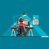 Oficinista en su escritorio Ejemplo plano del diseño del vector fresco con el hombre que trabaja en el equipo de escritorio libre illustration