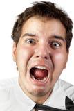 Oficinista enojado gritando de la tensión aislado Imagen de archivo libre de regalías