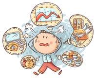Oficinista o contable en la tensión debido a los plazos y demasiadas tareas libre illustration