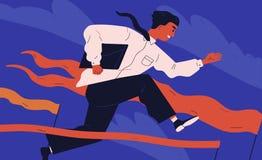 Oficinista o vendedor sonriente que salta sobre barrera Concepto de persona que supera los obstáculos, el soportar adverso libre illustration