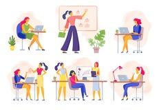 Oficinistas de sexo femenino La mujer de negocios mantiene la reunión, el trabajo del equipo de mujeres unida y a la empresaria c libre illustration