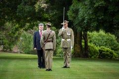 Oficjalna powitalna ceremonia prezydent Ukraina Poroshenko ja Zdjęcie Royalty Free
