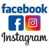Oficjalni facebook i instagram logowie royalty ilustracja