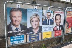 oficjalni kampania plakaty partia polityczna lidery ones jedenaście kandydatów biega w 2017 Francuskich prezydenckich electi obraz stock