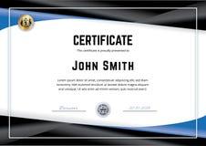 Oficjalny biały świadectwo z czarnymi błękitnymi gradientowymi projektów elementami Biznesowy czysty nowożytny projekt Złocisty e ilustracja wektor