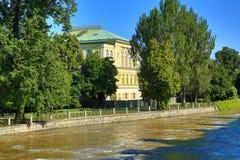 Žofín, Flooding in Prague in June 2013, Moldau, the Šítkovská Water-Tower , Prague, Czech Republic Royalty Free Stock Photos