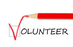 Ofrézcase voluntariamente el mensaje y el lápiz rojo imagen de archivo libre de regalías