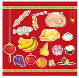 Ofrecimiento chino de la comida del antepasado de la cultura ilustración del vector