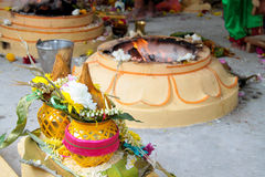 Ofrecimiento de los cocos y de las flores Fotografía de archivo libre de regalías