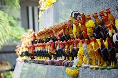 Ofrecimiento de rogación y sacrificatorio por la figura del gallo de lucha del uso Fotografía de archivo libre de regalías