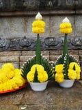 Ofrendas de la flor en Sukhothai Tailandia Foto de archivo libre de regalías