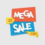 Ofrezca la etiqueta del descuento de la venta con venta mega de lectura del texto - vector el EPS Fotografía de archivo