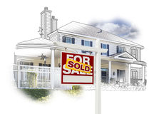 OfSold Sign in Front House Drawing and Photo on White. Custom House and Sold Real Estate Sign Drawing and Photo Combination on White stock illustration