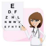 Oftalmólogo de la muchacha de la historieta con vista de la prueba de la carta ilustración del vector
