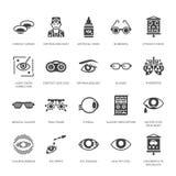 Oftalmologia, icone di glifo di sanità degli occhi Attrezzatura di optometria, lenti a contatto, vetri, cecità Correzione di visi Fotografie Stock