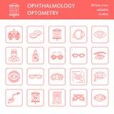 Oftalmologia, linha ícones dos cuidados médicos dos olhos Equipamento da optometria, lentes de contato, vidros, cegueira Correção ilustração royalty free