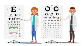 Oftalmologidoktor Set Vector Kvinnlig man Medicinsk ögondiagnostik Ögonprovdiagram i klinik Diagnostik av myopi Arkivbild