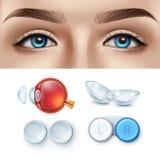Oftalmologie realistische reeks van contactlens en menselijk oog stock illustratie